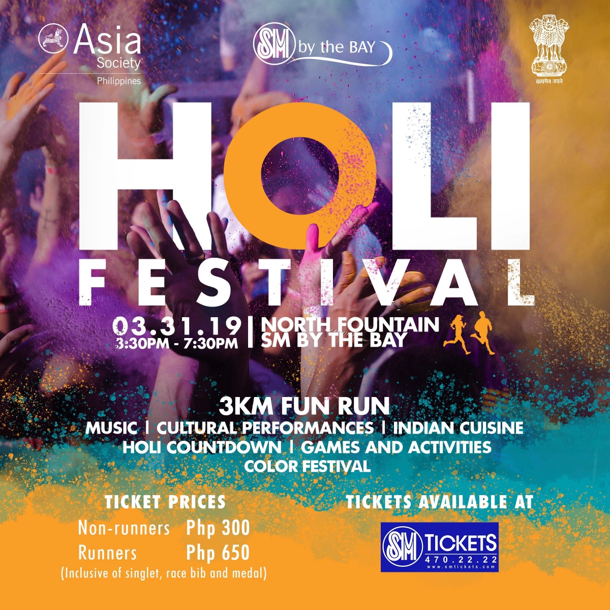 Holi Festival 2019 | 31 March 2019, 3:30 PM | North Fountain, SM by the BAY