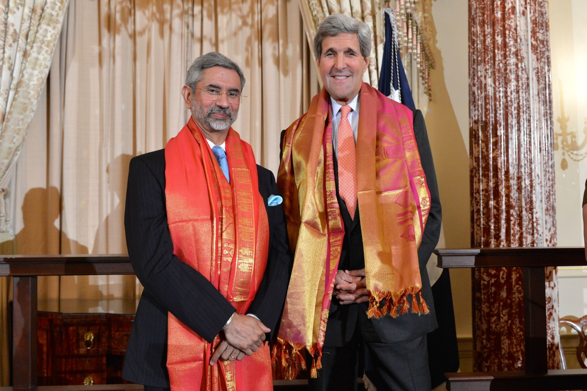 Dr. S. Jaishankar, then the Indian Ambassador to the US, with former US Secretary of State John Kerry at the US Department of State's Diwali celebration on October 23, 2014