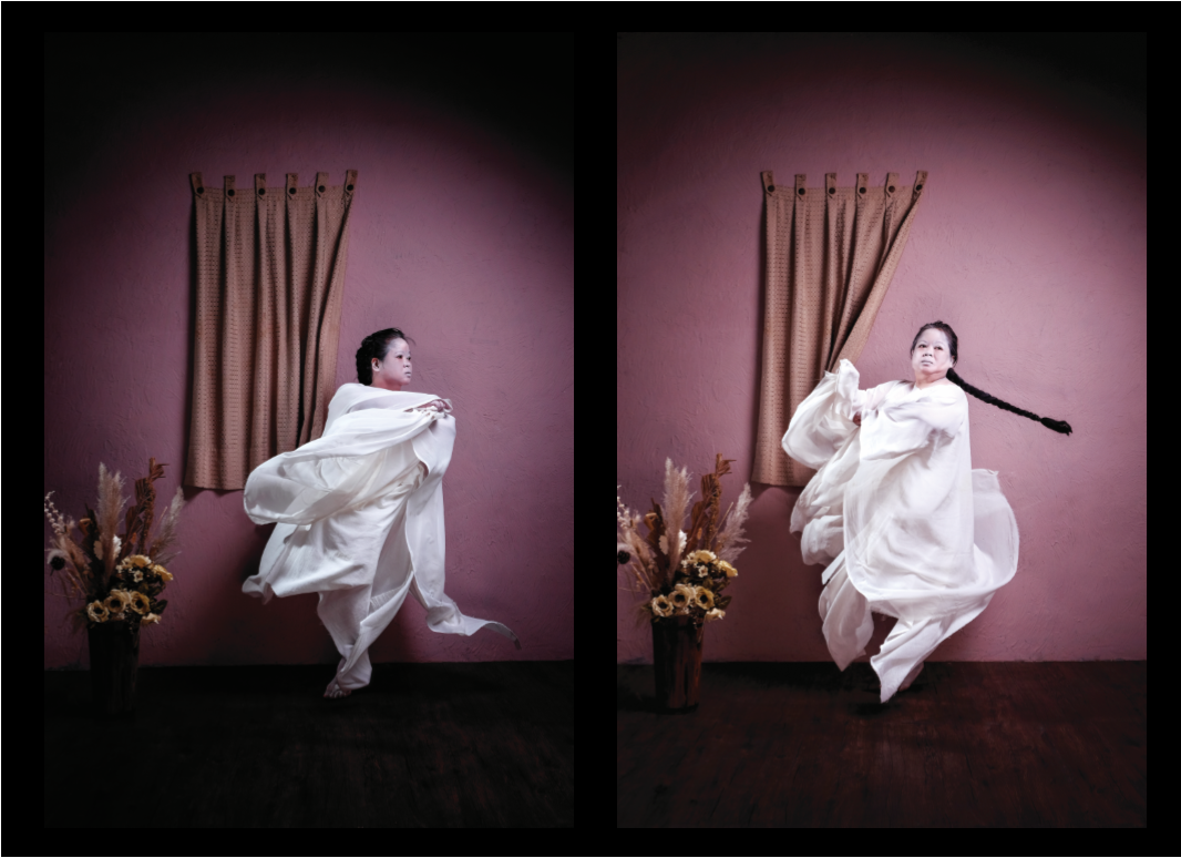 Two of photos of artist Melati Suryodarmo are placed side by side. The artist is dressed in all white and the photo captures her in movement.