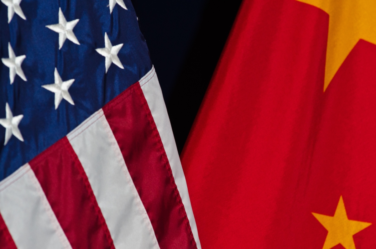 U.S and China flags