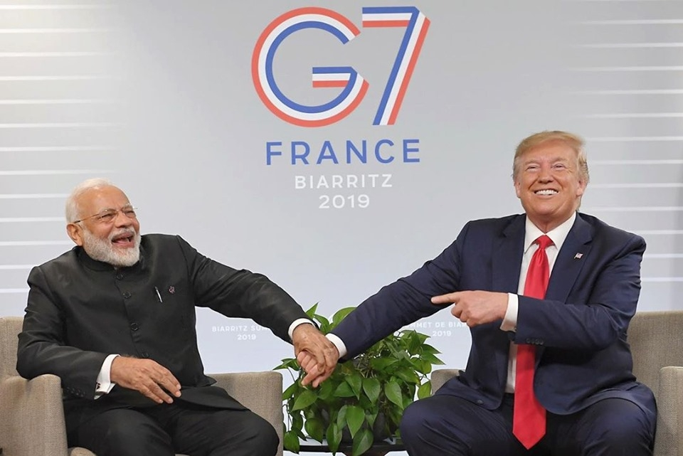 Modi and Trump at the 2019 G7 Summit in France