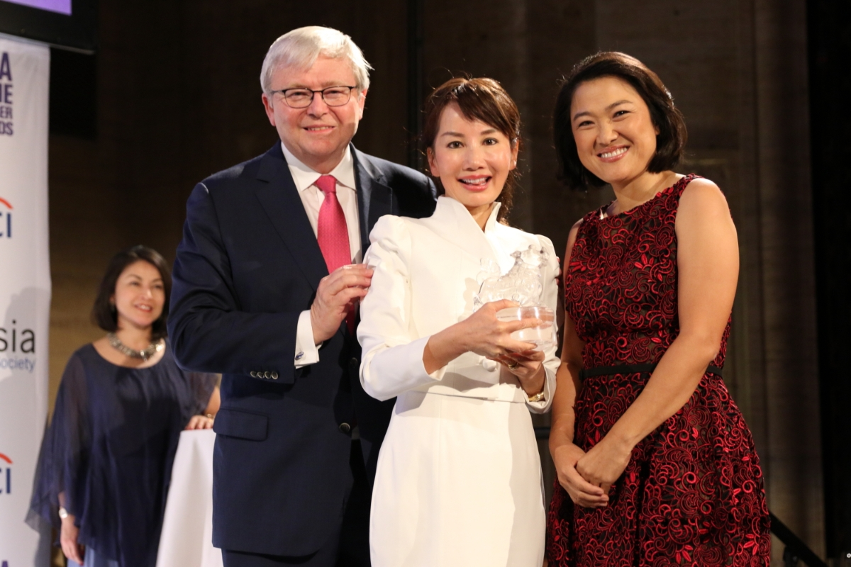 Kevin Rudd,  Jane Jie Sun, and Zhang Xin