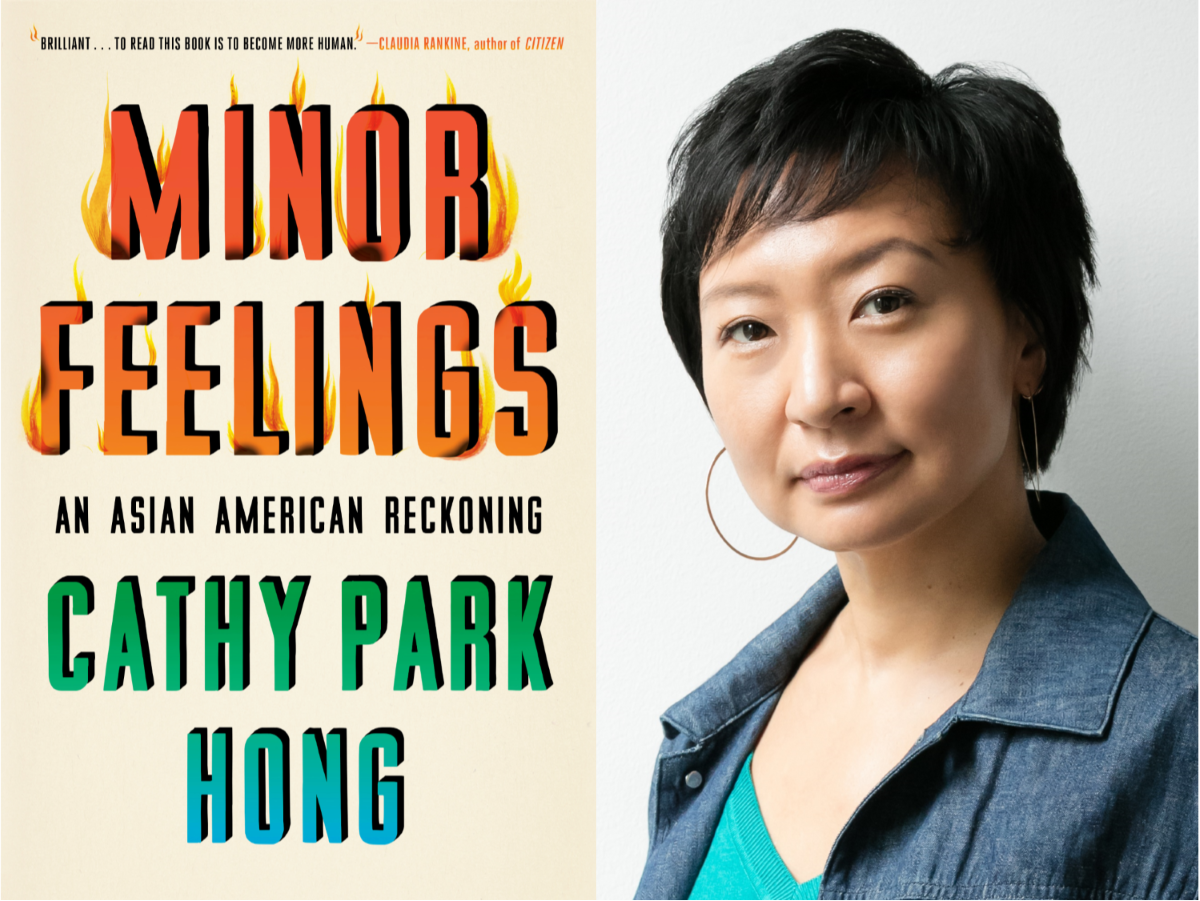 Composite photo with cover of book Minor Feelings on left and portrait of author Cathy Park Hong on right.