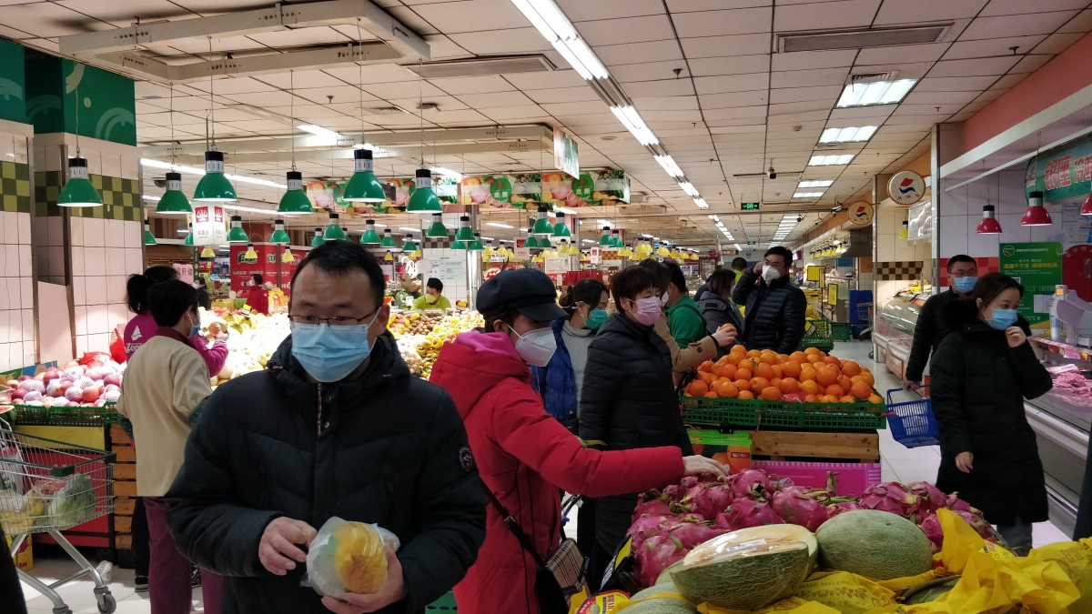 People wearing masks in Yanshan