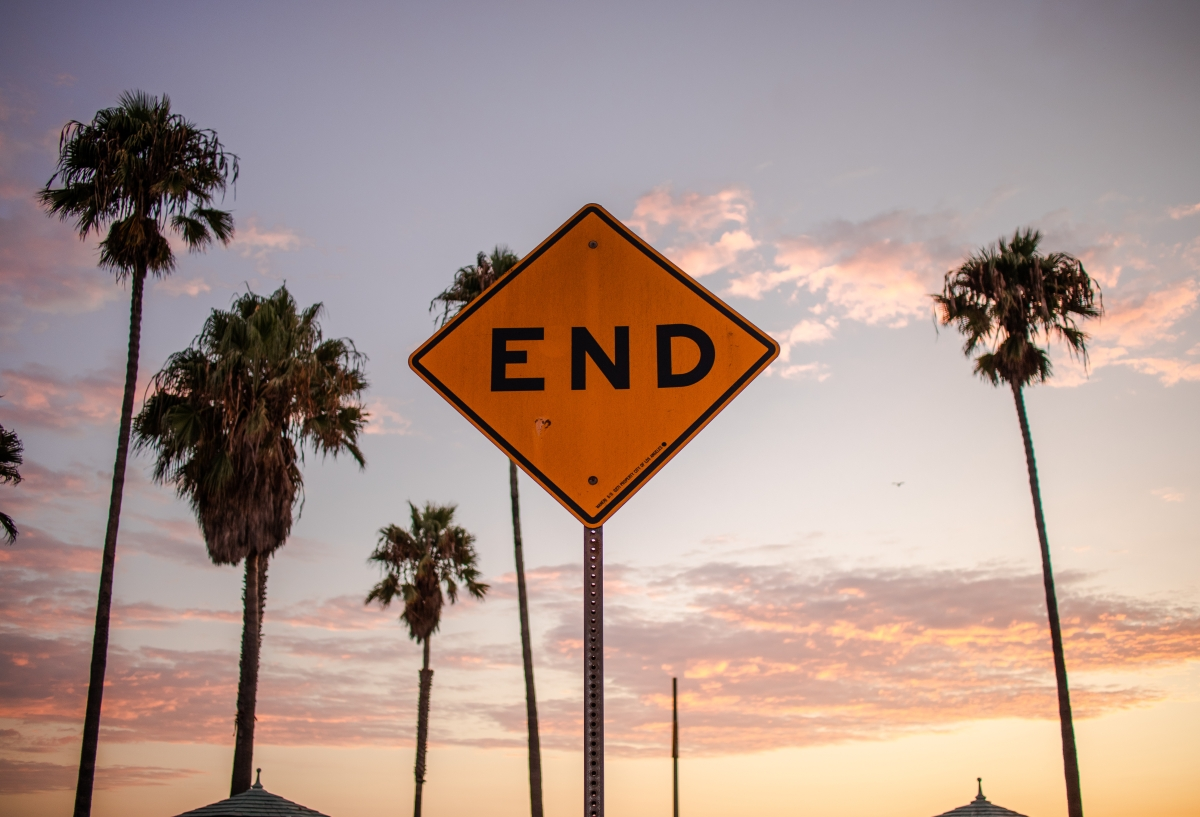 Image of an end of the road sign in front of palm trees.