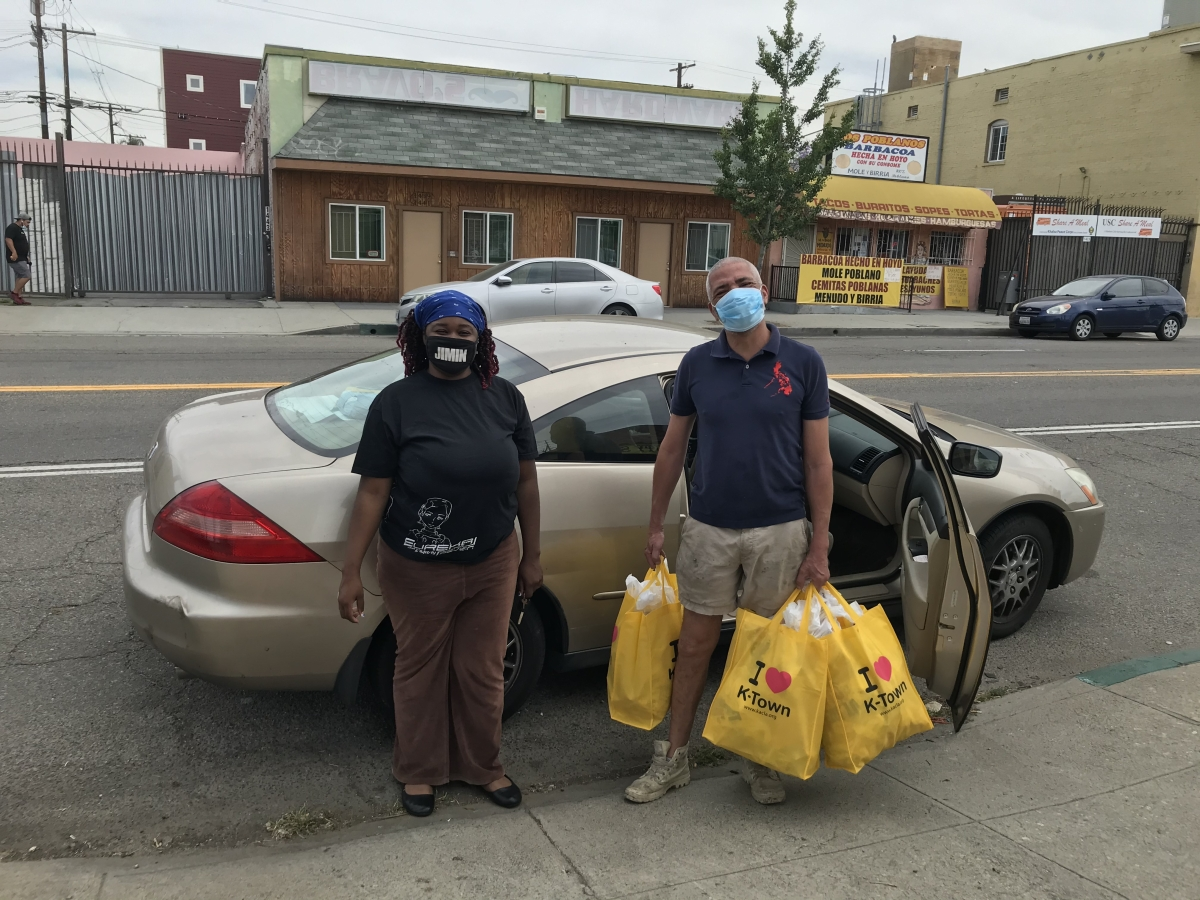 Asian Americans For Housing gives masks to K-town restaurant owners