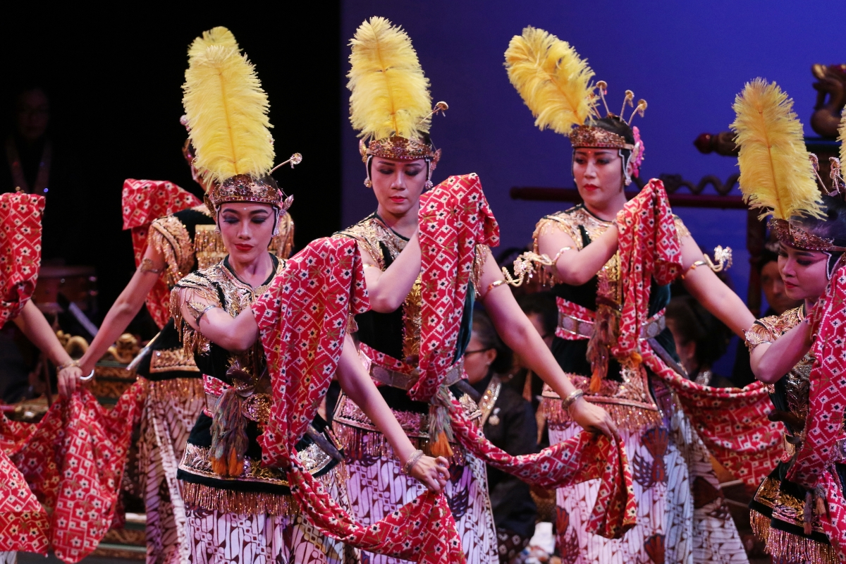 Dancers from the court of Yogyakarta perform Bedhoyo at Asia Society New York