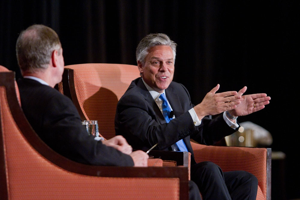 "Huntsman stresses the need to foster ""people-to-people"" relationships and connections. (Richard Carson)"