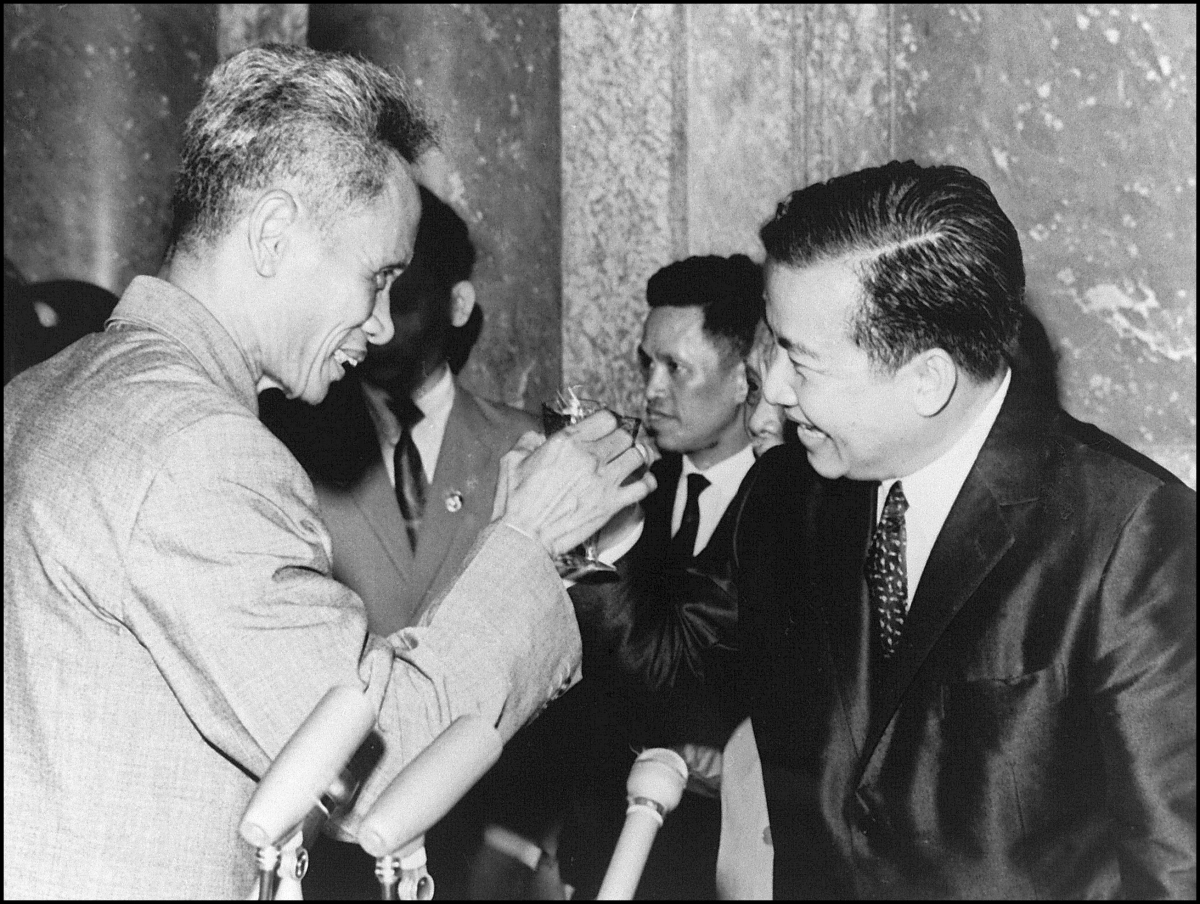 Sihanouk (R) toasts with Vietnamese Premier Phan Van Dong (L) during a visit to Hanoi in 1970. Sihanouk was deposed by Cambodian forces of Lt.-Gen. Lon Nol in March 1970 and formed an ill-fated alliance with North Vietnam and an underground Marxist insurgency group, the Khmer Rouge, led by Pol Pot. (Lam Hong/AFP/Getty Images)