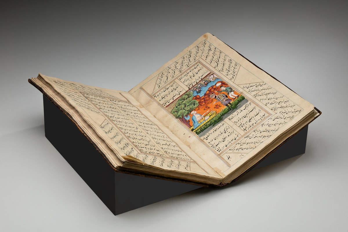 Illustrated Portions of the Khamsa Nizami Iskandar Nama and Makhzan al-Asrar, Written in Farsi Language with Nasta'liq Script, India, late Mughal Period (1526-1857), Leather ink, colors and gold, Gift of the Society for Foreign Mission Welfare, 1955, Collection of the Newark Museum 55.270