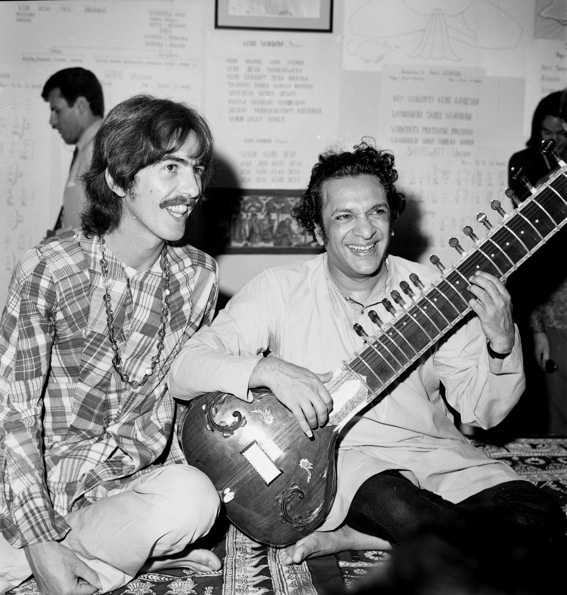 Shankar's friendship with Beatle George Harrison (L) vaulted him to a new level of international celebrity in the mid-1960s. Harrison became Shankar's pupil and the two remained close until Harrison's death in 2001. (Michael Ochs Archives/Getty Images)
