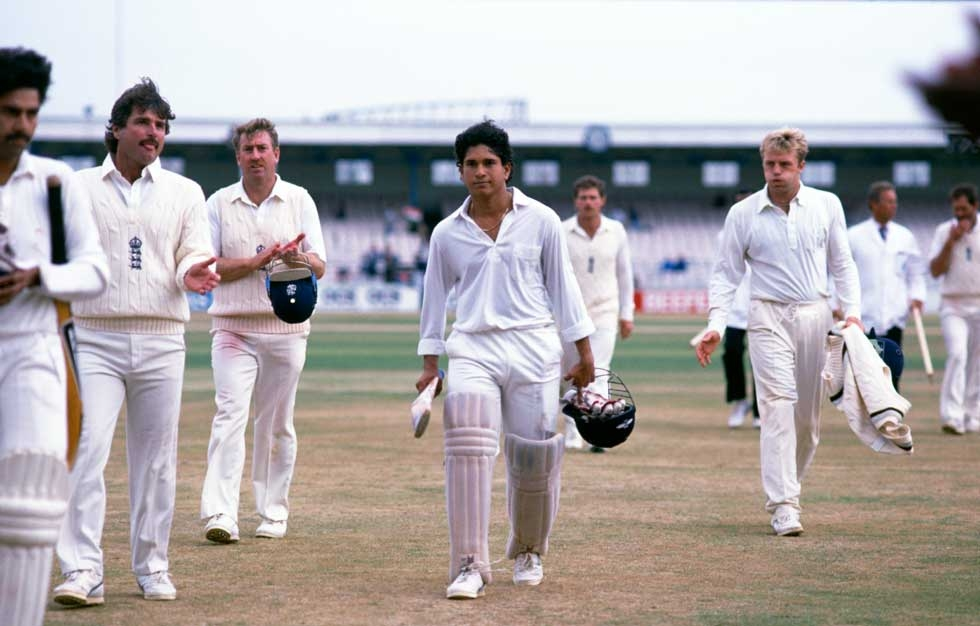 England versus India in the second Test at Old Trafford, August 1990. Tendulkar is in the center. (Ben Radford/Getty Images)