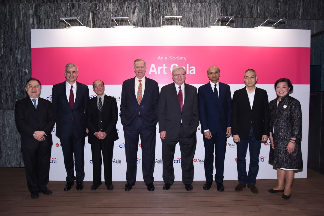 (Left to right) Asia Society Co Chair Ronnie C. Chan, Fernando Zobel de Ayala, Art Gala Honoree artist Wucius Wong, Asia Society Trustee J. Frank Brown, Asia Society Policy Institute President Keven Rudd, Asia Society Global Trustee Omar Ishrak, Art Gala Honoree artist Do Ho Suh, and Asia Society Hong Kong Center Executive Director S. Alice Mong at the 2015 reception.