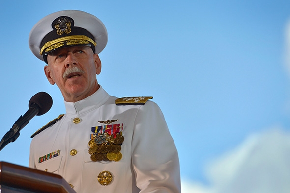U.S. Navy Adm. Scott H. Swift delivers remarks as he assumes command of  the U.S. Pacific Fleet on May 27, 2015  (GLENN FAWCETT/DOD Photo).