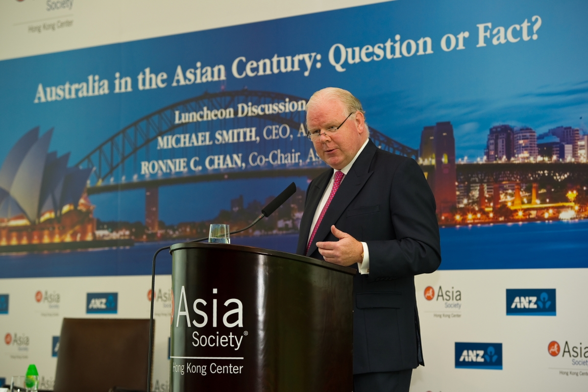 Michael Smith, CEO, ANZ Bank speaking on Asia-Australia relations. (Asia Society Hong Kong Center)