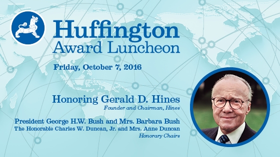 The Huffington award will be presented at an October 7, 2016 luncheon at the Hilton Americas-Houston.