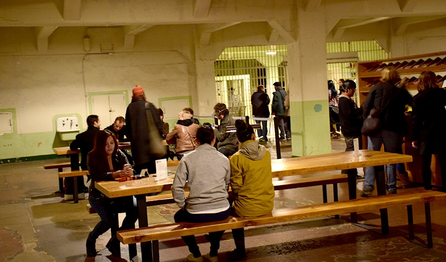 """Yours Truly"" in the Alcatraz Dining Hall offers visitors the opportunity to correspond directly and personally with individual prisoners."