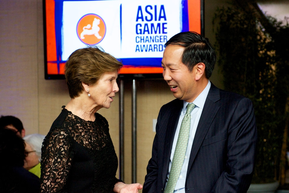 Anne Ehrenkranz, left, and Michael Chae. (Ann Billingsley/Asia Society)