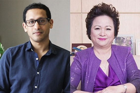 Nadiem Makarim, Founder of GO-JEK , from Indonesia, and  Thi Nga Nguyen, Chairma