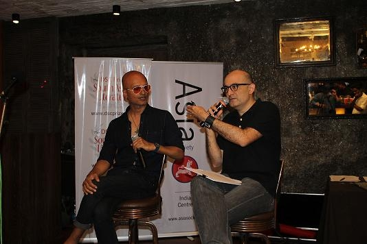 """Narcopolis"" author Jeet Thayil (L)  and filmmaker Dev Benegal (R) in Mumbai on August 1, 2013. (Asia Society India Centre)"