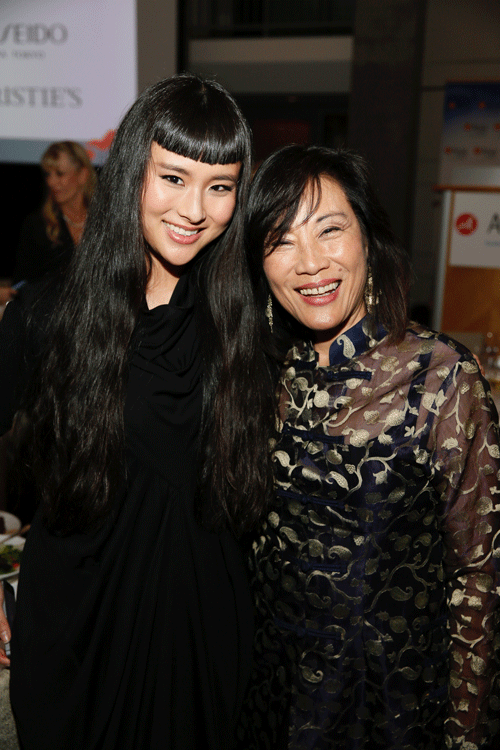 From left, Asia Chow and Janet Yang pose during the Asia Society Southern California 2016 Annual Gala at the Skirball Cultural Center on May 22, 2016, in Los Angeles, California. (Photo by Ryan Miller/Capture Imaging)