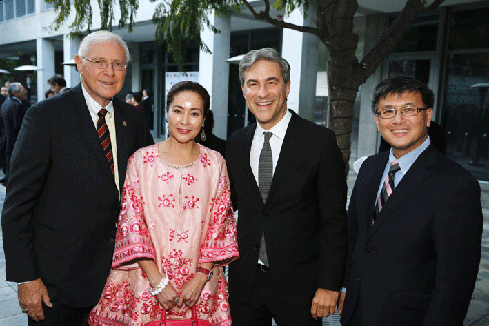From left, Supervisor Michael D. Antonovich, Christine Hu, 2016 Arts Visionary Award Winner Michael Govan and California State Treasurer John Chiang pose during the Asia Society Southern California 2016 Annual Gala at the Skirball Cultural Center on May 22, 2016, in Los Angeles, California. (Photo by Ryan Miller/Capture Imaging)