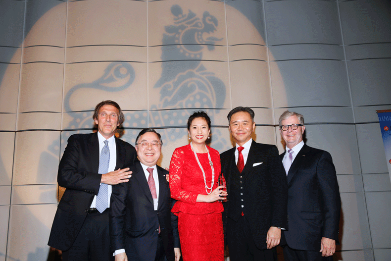 From left, Brian Treiger, Ronnie Chan, Asia Society Global Co-Chair, the 2016 Philanthropic Visionaries Shirley Wang and Walter Wang and Thomas E. McLain, Chairman, Asia Society Southern California pose during the Asia Society Southern California 2016 Annual Gala at the Skirball Cultural Center on May 22, 2016, in Los Angeles, California. (Photo by Ryan Miller/Capture Imaging)
