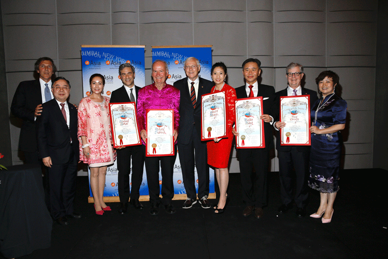 The honorees pose during the Asia Society Southern California 2016 Annual Gala at the Skirball Cultural Center on May 22, 2016, in Los Angeles, California. (Photo by Ryan Miller/Capture Imaging)