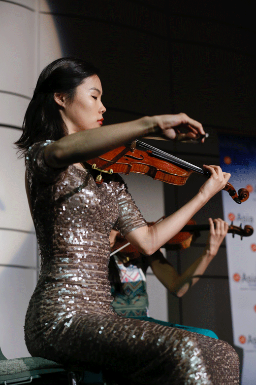 The Camille Sting Quartet perform during the Asia Society Southern California 2016 Annual Gala at the Skirball Cultural Center on May 22, 2016, in Los Angeles, California. (Photo by Ryan Miller/Capture Imaging)