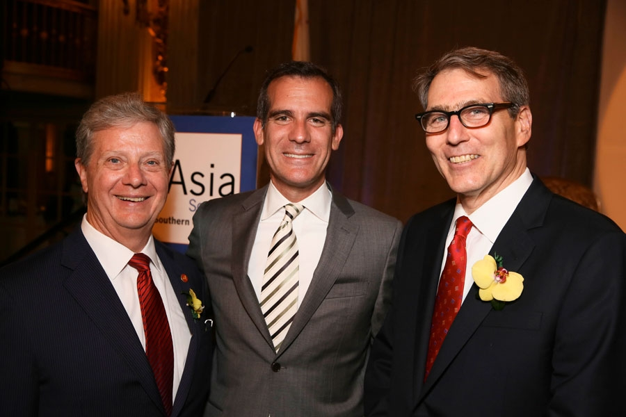 From left, Thomas E. McLain, Chair, Asia Society of Southern California, Los Angeles Mayor Eric Garcetti and Jonathan Karp, Executive Director, Asia Society of Southern California pose during the Asia Society Southern California 2014 Annual Gala held at the Millennium Biltmore Hotel on Monday, May 19, 2014, in Los Angeles, Calif. (Photo by Ryan Miller/Capture Imaging)