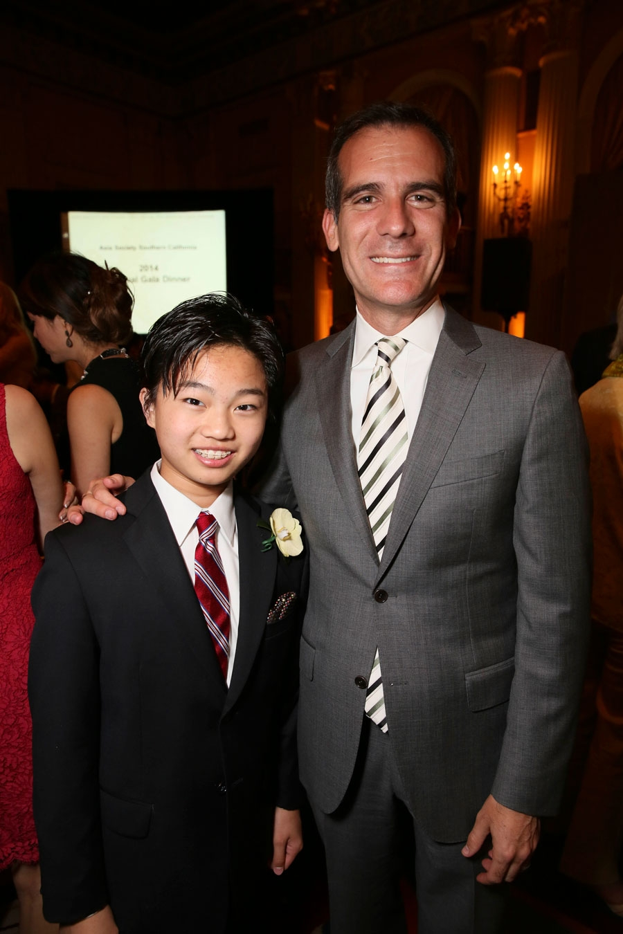 From left, Ray Ushikubo, Pianist  and Los Angeles Mayor Eric Garcetti pose during the Asia Society Southern California 2014 Annual Gala held at the Millennium Biltmore Hotel on Monday, May 19, 2014, in Los Angeles, Calif. (Photo by Ryan Miller/Capture Imaging)