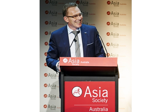 BHP Billiton CEO Andrew Mackenzie addressing the business lunch hosted by the Asia Society Australia.