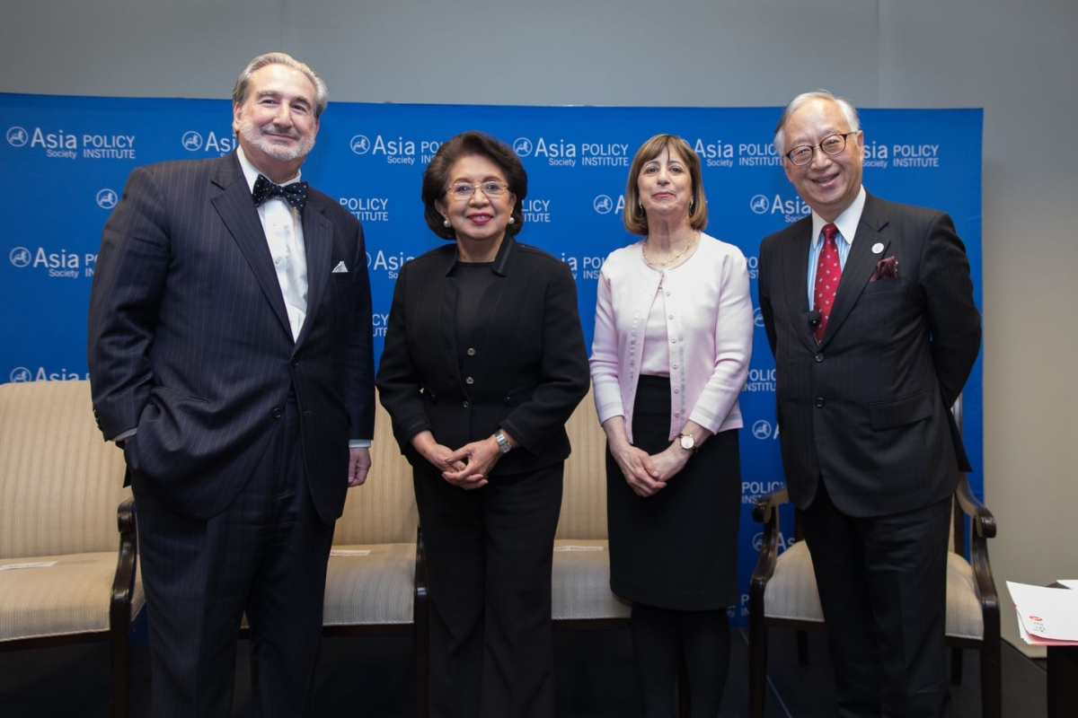 Speakers Charles Levy, Conchita Carpio Morales, Wendy Cutler, and Yorizumi Watanabe at an Asia Society Policy Institute panel discussion in Washington on March 29, 2017. (Nick Khazal / Asia Society)