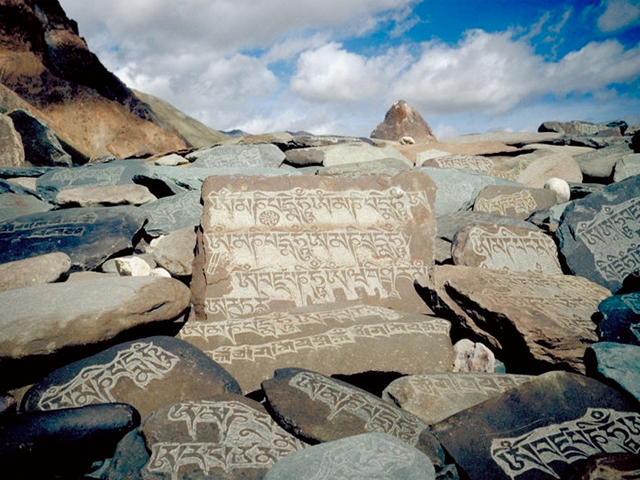 A Tibetan mantra inscribed in rocks at Zanskar, India. Photographer unknown.