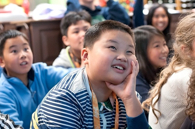 Chinese students from Renmin Primary School in Chongqing, visiting Beacon Hill International School, enjoy classes with Seattle Mandarin Immersion students.