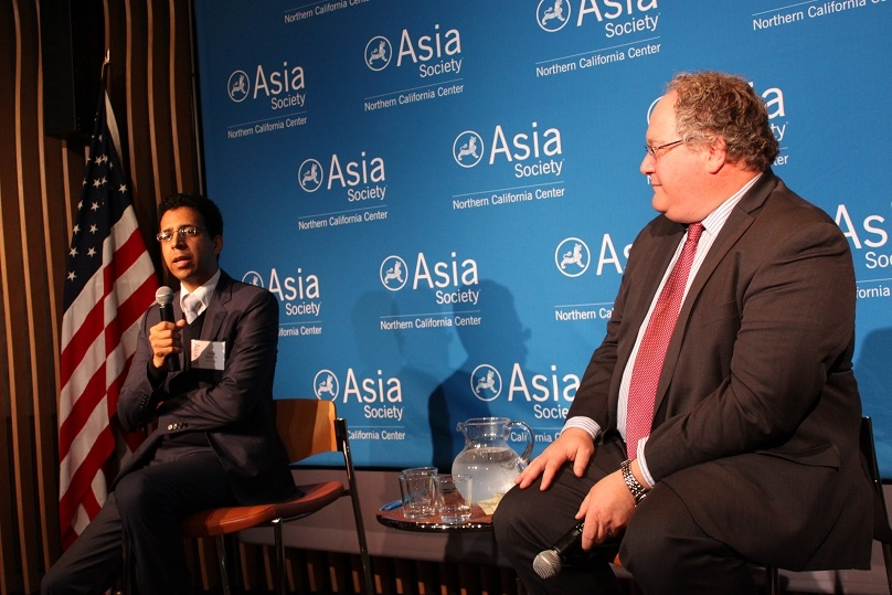 Clayton Dube moderated the discussion with David Barboza. (Asia Society)