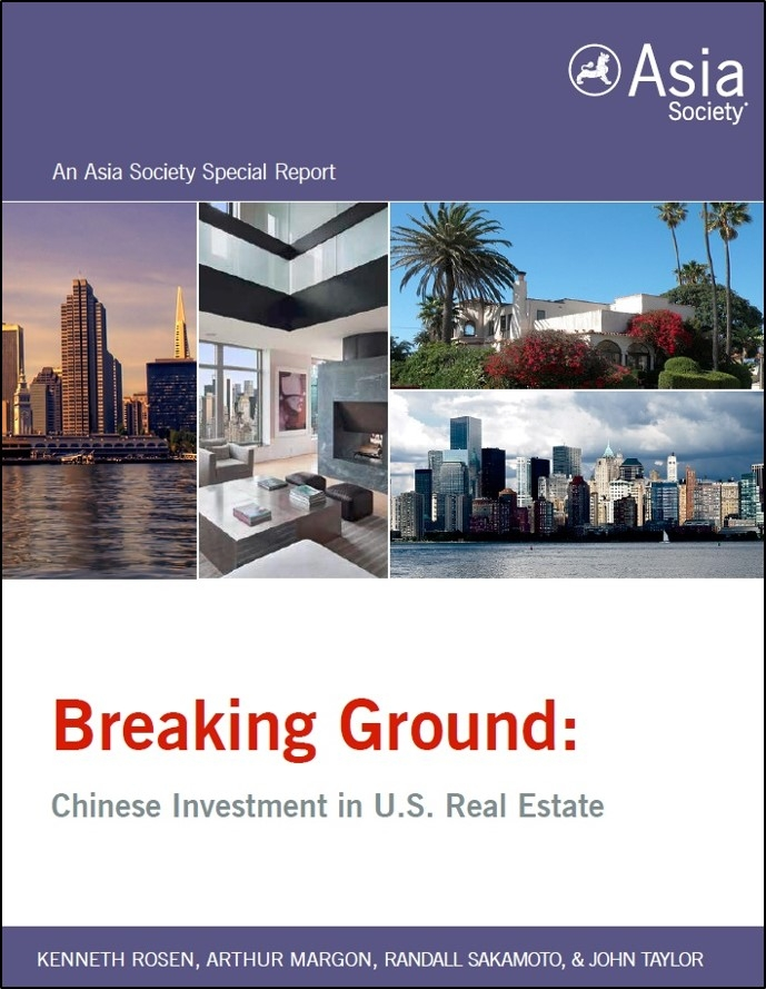 "A copy of the ""Breaking Ground: Chinese Investment in U.S. Real Estate"" report cover. Report launches were held on May 16 in New York; May 24 in San Francisco, and May 25 in Los Angeles. (Asia Society)"