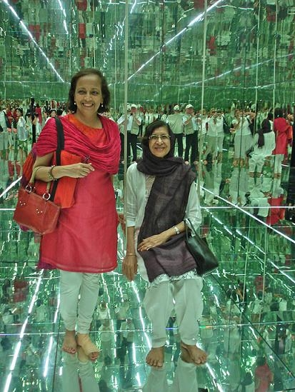 Asia Society India Centre Executive Director, Bunty Chand and Meera Devidayal inside Sharjah Biennial project by Thilo Frank. (Susan Hapgood)