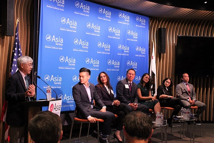Gee (far left) made the introductory remarks about the event. (Yiwen Zhang/Asia Society)