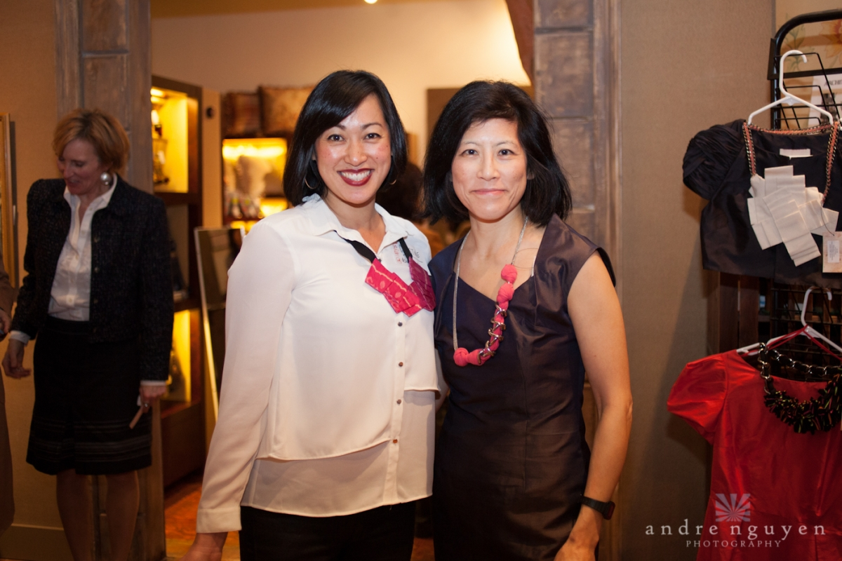 Asia Society Northern California volunteers and brand reps Christine Pan and Barbara Koh modeling samples from Peony Rice and Abandon