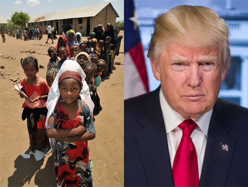 A scene from a refugee camp (left), and a portrait of Donald Trump
