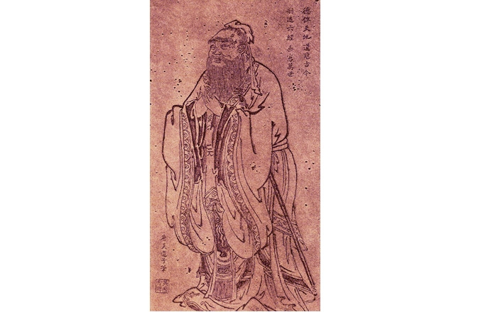 Confucius portait by Wu Daozi, 685-758, Tang Dynasty
