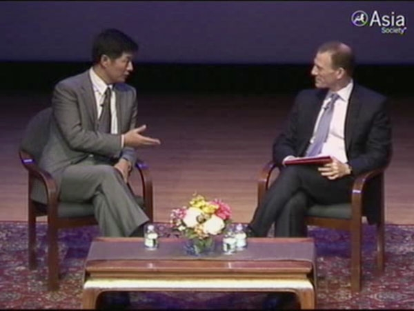 Lobsang Sangay and Jamie Metzl on stage at the Asia Society in New York on July 19, 2011.