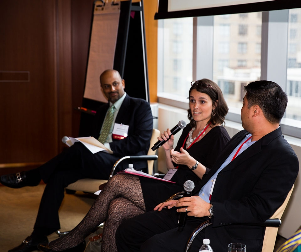 "Left to Right: Apoorva Gandhi, Jessica Kehayes, David Kim at ""Identifying and Developing Local Talent in Asia"""