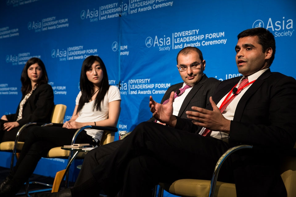 Young Leaders Roundtable discussion featuring Nina Godiwalla, Jess Lee, Soofian Zuberi, and Vishal Sha (left to right)