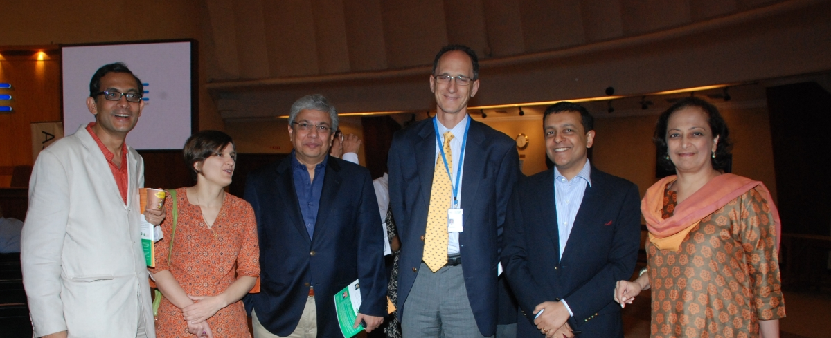 L to R: Abhijit Banerjee and Esther Duflo with Omkar Goswami, Founder and Chairman of (CERG) Advisory, Jim Shapiro, Head of Market Development of the Bombay Stock Exchange, Intellecap CEO Krishan Sree Kumar and ASIC Executive Director Bunty Chand in Mumbai on Nov. 8, 2011.