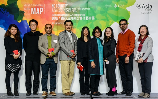 Joel Kwong, Programme Director, Microwave International New Media Arts Festival, Doryun Chong, Chief Curator, M+, Firoz Mahmud, artist, Pandit Chanrochanakit, Lecturer, Faculty of Political Science, Ramkhamhaeng University, June Yap, Guggenheim UBS MAP Curator, South and Southeast Asia, Parul Dave-Mukherji, Dean, School of Arts and Aesthetics, Jawaharlal Nehru University, New Delhi, Ming Tiampo, Associate Professor of Art History, Carleton University; co-curator,Gutai: Splendid Playground (Guggenheim Museum