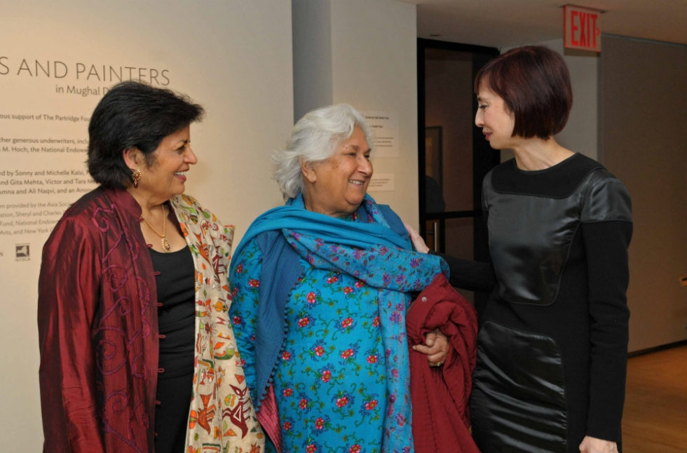 Asia Society President Vishakha Desai (L) and Asia Society Museum Director Melissa Chiu (R) talk to a guest. (Elsa Ruiz)