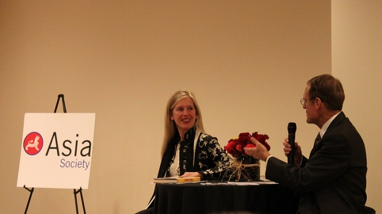 Rebecca A. Fannin (L) and Sean Randolph (R) in San Francisco on January 12, 2012. (Asia Society Northern California)