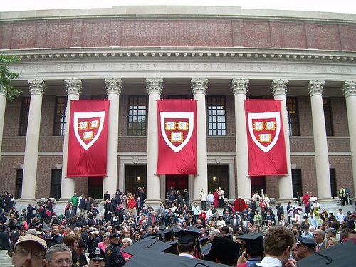A commencement ceremony in 2008 at Harvard University. (Flickr/ilamont.com)